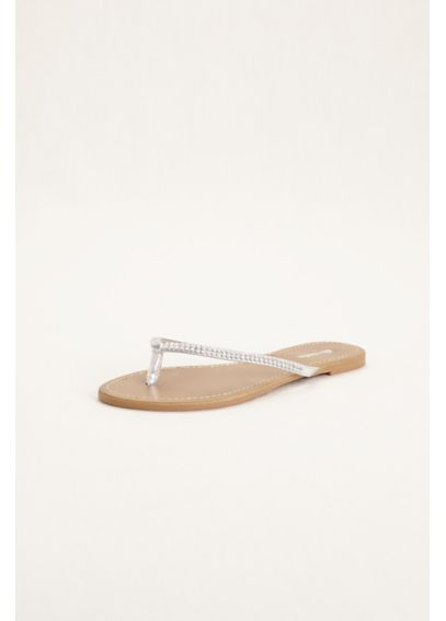 Metallic Flip Flop with Crystal Embellishment SUE